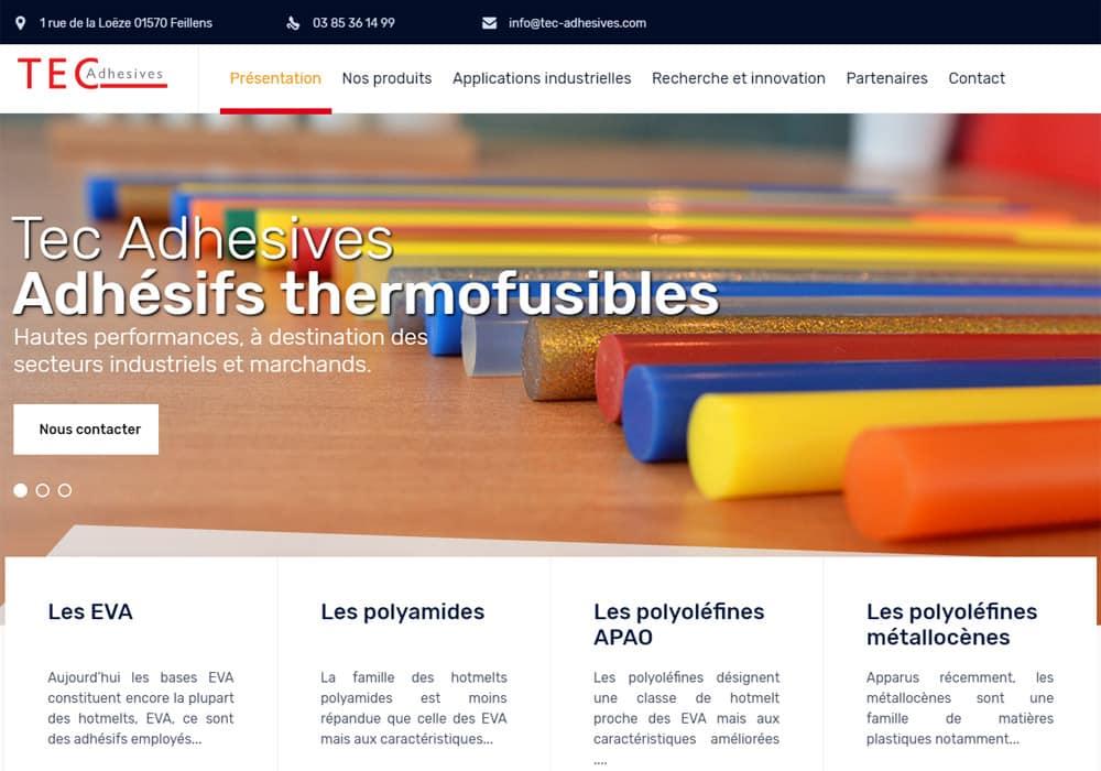 Création d'un site internet pour Tec Adhesives